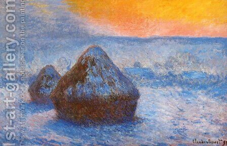 Grainstacks At Sunset  Snow Effect by Claude Oscar Monet - Reproduction Oil Painting