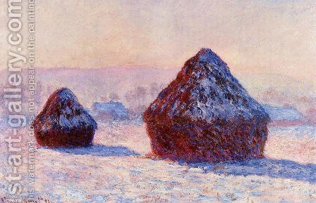 Grainstacks In The Morning  Snow Effect by Claude Oscar Monet - Reproduction Oil Painting