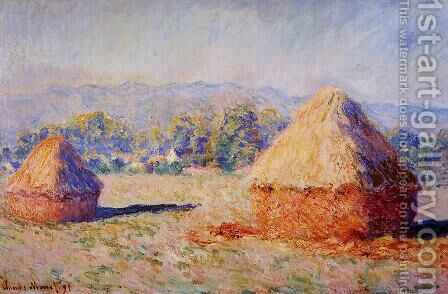 Grainstacks In The Sunlight  Morning Effec by Claude Oscar Monet - Reproduction Oil Painting