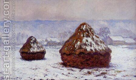 Grainstacks  Snow Effect by Claude Oscar Monet - Reproduction Oil Painting