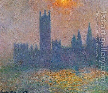 Houses Of Parliament  Effect Of Sunlight In The Fog by Claude Oscar Monet - Reproduction Oil Painting