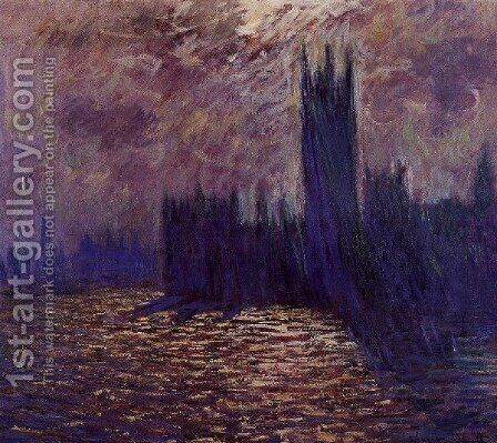 Houses Of Parliament  Reflection Of The Thames by Claude Oscar Monet - Reproduction Oil Painting