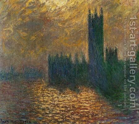Houses Of Parliament  Stormy Sky by Claude Oscar Monet - Reproduction Oil Painting