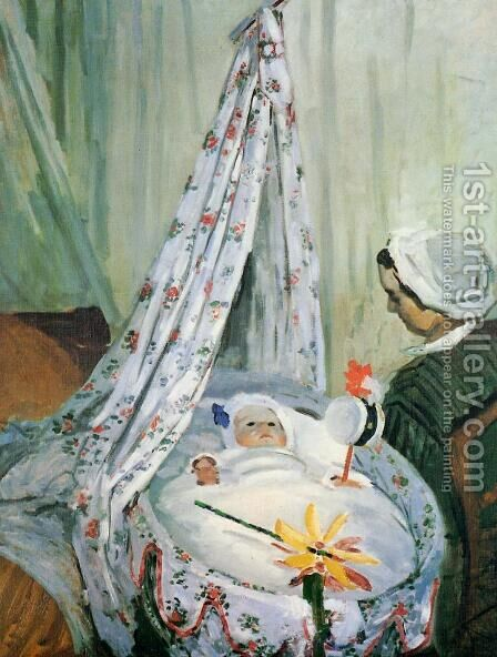 Jean Monet In His Cradle by Claude Oscar Monet - Reproduction Oil Painting