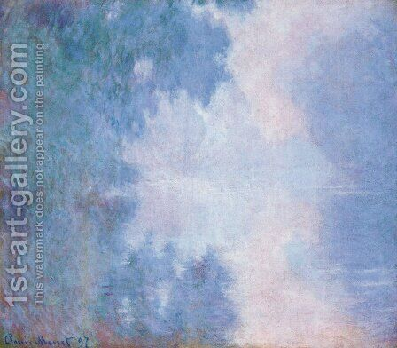 Morning On The Seine  Mist by Claude Oscar Monet - Reproduction Oil Painting