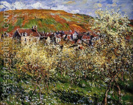 Plum Trees In Blossom At Vetheuil by Claude Oscar Monet - Reproduction Oil Painting