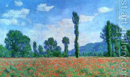 Poppy Field In Giverny by Claude Oscar Monet - Reproduction Oil Painting
