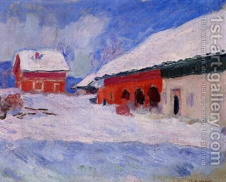 Red Houses At Bjornegaard In The Snow  Norway by Claude Oscar Monet - Reproduction Oil Painting