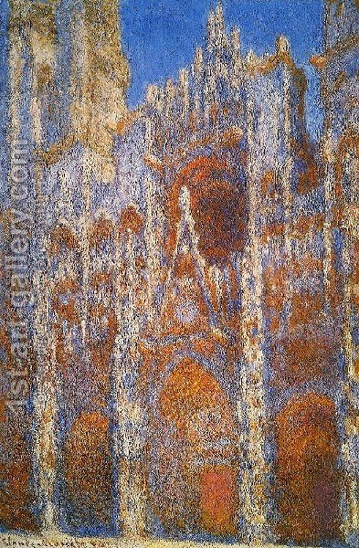 Rouen Cathedral  Sunlight Effect by Claude Oscar Monet - Reproduction Oil Painting