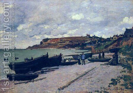 Sainte Adresse  Fishing Boats On The Shore by Claude Oscar Monet - Reproduction Oil Painting
