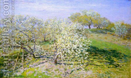 Springtime Aka Apple Trees In Bloom by Claude Oscar Monet - Reproduction Oil Painting