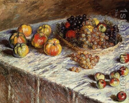 Still Life   Apples And Grapes by Claude Oscar Monet - Reproduction Oil Painting