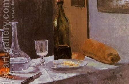 Still Life With Bottle  Carafe  Bread And Wine by Claude Oscar Monet - Reproduction Oil Painting