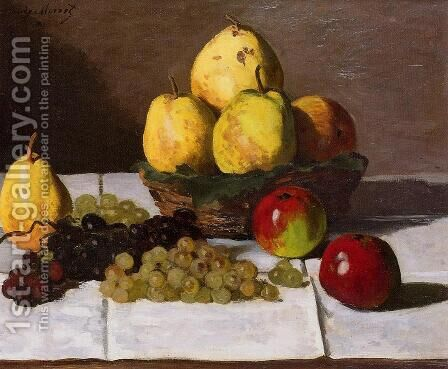 Still Life With Pears And Grapes by Claude Oscar Monet - Reproduction Oil Painting