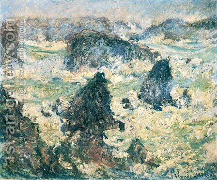 Storm On The Cote De Belle Ile by Claude Oscar Monet - Reproduction Oil Painting