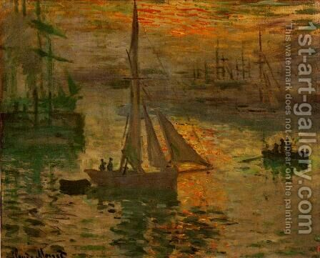 Sunrise Aka Seascape by Claude Oscar Monet - Reproduction Oil Painting