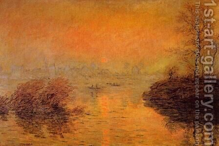 Sunset On The Seine At Lavacourt  Winter Effect by Claude Oscar Monet - Reproduction Oil Painting