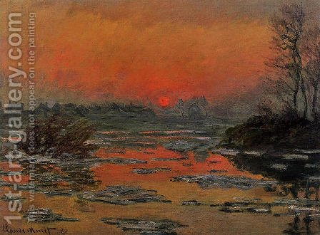 Sunset On The Seine In Winter by Claude Oscar Monet - Reproduction Oil Painting