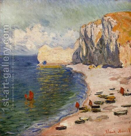 The Beach And The Falaise D Amont by Claude Oscar Monet - Reproduction Oil Painting