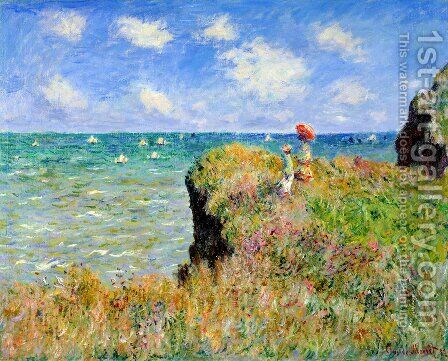 The Cliff Walk  Pourville by Claude Oscar Monet - Reproduction Oil Painting