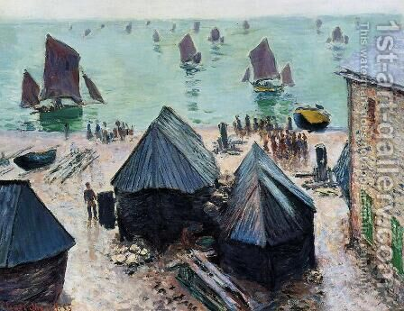 The Departure Of The Boats  Etretat by Claude Oscar Monet - Reproduction Oil Painting