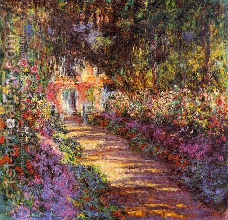 The Flowered Garden by Claude Oscar Monet - Reproduction Oil Painting