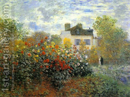 The Garden At Argenteuil Aka The Dahlias by Claude Oscar Monet - Reproduction Oil Painting