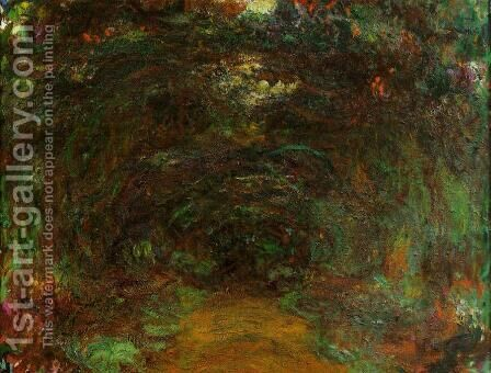 The Path Under The Rose Trellises  Giverny2 by Claude Oscar Monet - Reproduction Oil Painting