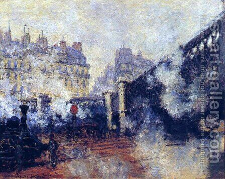 The Pont De L Europe  Saint Lazare Station by Claude Oscar Monet - Reproduction Oil Painting