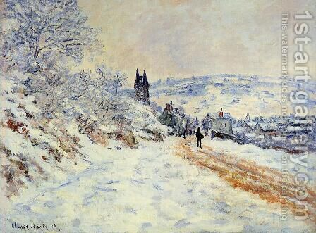 The Road To Vetheuil  Snow Effect by Claude Oscar Monet - Reproduction Oil Painting