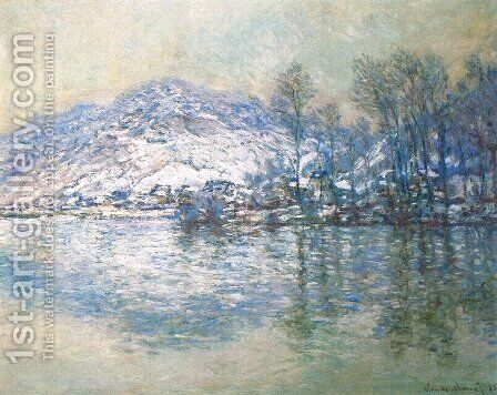 The Seine At Port Villez  Snow Effect by Claude Oscar Monet - Reproduction Oil Painting