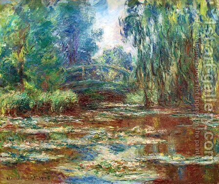 The Water Lily Pond And Bridge by Claude Oscar Monet - Reproduction Oil Painting