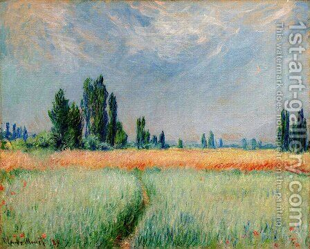 The Wheat Field by Claude Oscar Monet - Reproduction Oil Painting