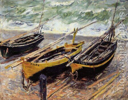 Three Fishing Boats by Claude Oscar Monet - Reproduction Oil Painting