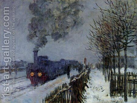 Train In The Snow  The Locomotive by Claude Oscar Monet - Reproduction Oil Painting