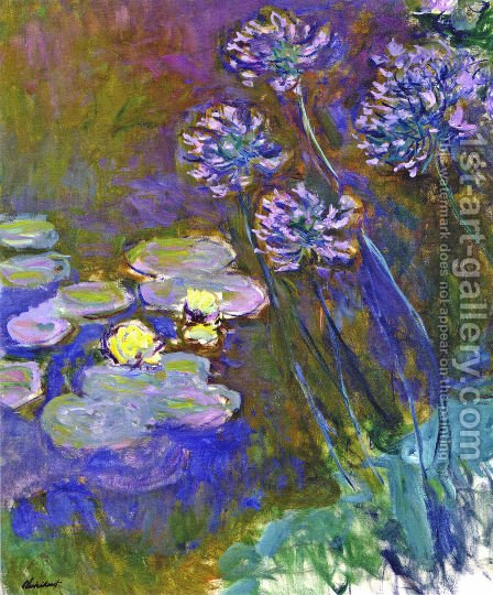 Water Lilies And Agapanthus59 by Claude Oscar Monet - Reproduction Oil Painting