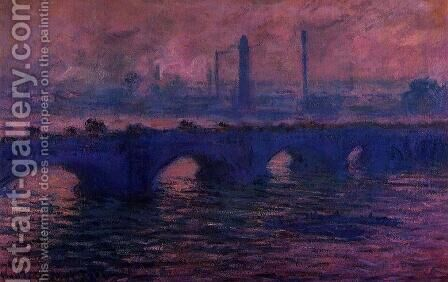 Waterloo Bridge  Overcast Weather by Claude Oscar Monet - Reproduction Oil Painting