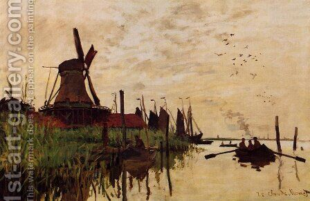Windmill At Zaandam by Claude Oscar Monet - Reproduction Oil Painting