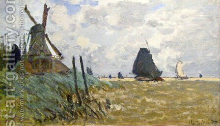 Windmill Near Zaandam by Claude Oscar Monet - Reproduction Oil Painting