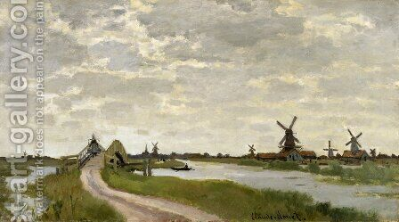 Windmills At Haaldersbroek  Zaandam by Claude Oscar Monet - Reproduction Oil Painting