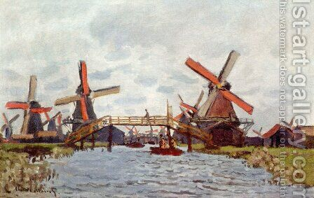 Windmills Near Zaandam by Claude Oscar Monet - Reproduction Oil Painting