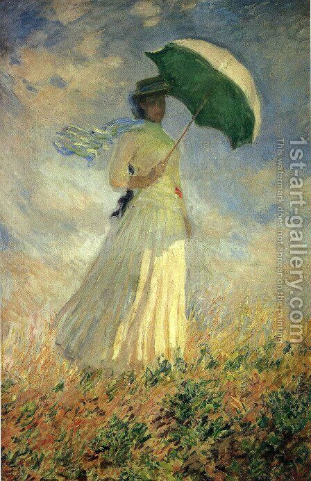 Woman With A Parasol  Facing Right Aka Study Of A Figure Outdoors (Facing Right) by Claude Oscar Monet - Reproduction Oil Painting