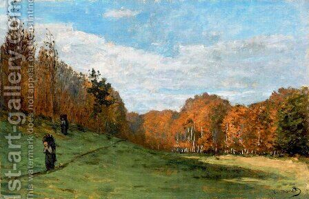 Woodbearers In Fontainebleau Forest by Claude Oscar Monet - Reproduction Oil Painting