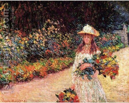 Young Girl In The Garden At Giverny by Claude Oscar Monet - Reproduction Oil Painting