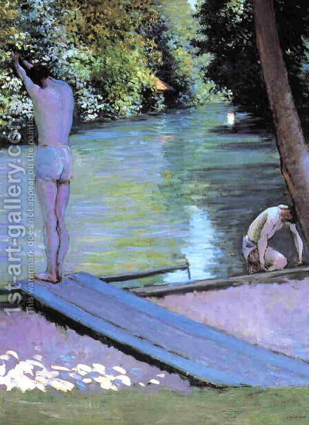 Bather Preparing To Dive  Banks Of The Yerres by Gustave Caillebotte - Reproduction Oil Painting
