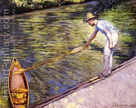 Boater Pulling On His Perissoire by Gustave Caillebotte - Reproduction Oil Painting