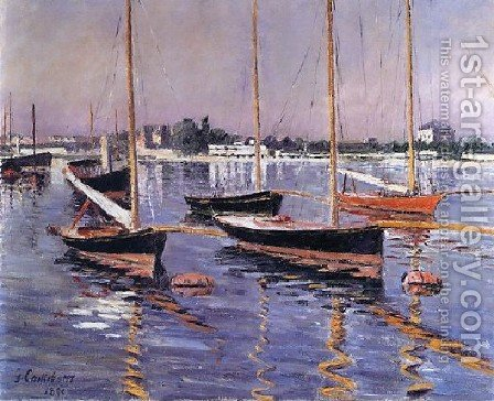 Boats On The Seine At Argenteuil by Gustave Caillebotte - Reproduction Oil Painting
