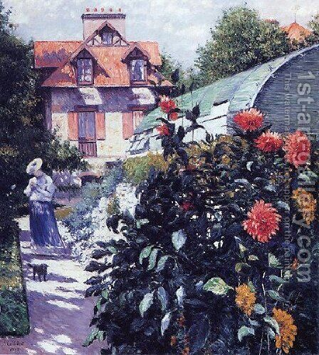 Dahlias The Garden At Petit Gennevilliers by Gustave Caillebotte - Reproduction Oil Painting