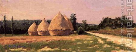 Landscape With Haystacks by Gustave Caillebotte - Reproduction Oil Painting