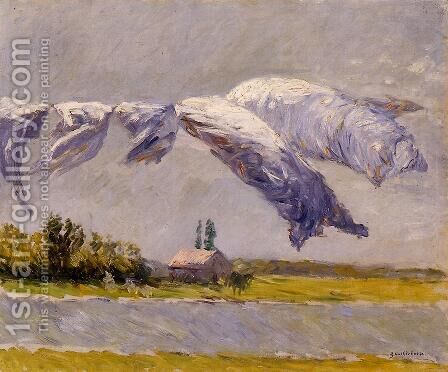 Laundry Drying  Petit Gennevilliers by Gustave Caillebotte - Reproduction Oil Painting